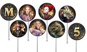 Embalagem com 24 toppers para cupcake Alice Através do Espelho
