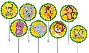 Embalagem com 24 toppers para cupcake Zoo