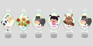 Embalagem com 12 apliques para Tubete Baby TV Pequena Lola