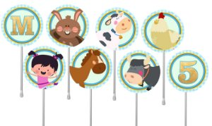 Embalagem com 24 toppers para cupcake Baby TV Pequena Lola
