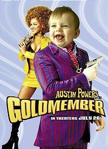Montagem com poster de Austin Powers em o Homem do Membro de Ouro