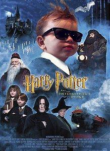 Montagem com poster de Harry Potter