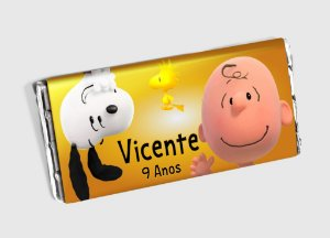 Arte personalizada para barra de chocolate Snoopy e Charlie Brown