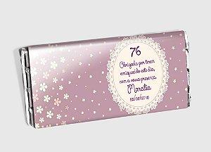Arte personalizada para barra de chocolate aniversário adultos