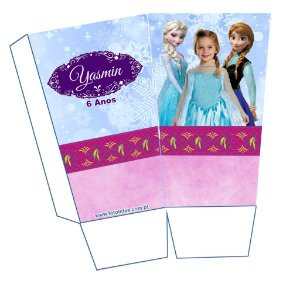 Caixa para pipoca personalizada Frozen com foto