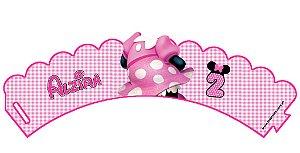 Arte para conjunto de wrapper (saia) para cupcake e topper personalizados da Minnie Rosa