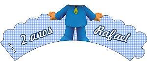 Arte para conjunto de wrapper (saia) para cupcake e topper personalizado do Pocoyo