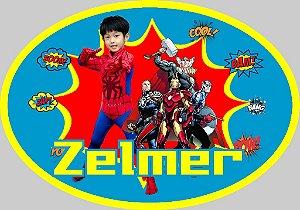 Arte para placa de mesa personalizada Super Herois com foto