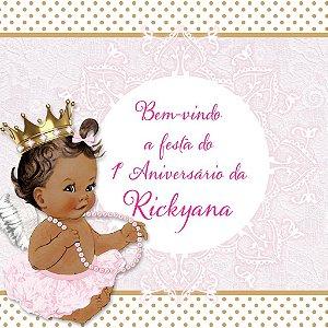 Arte para placa de entrada da festa personalizada Anjinha Princesa