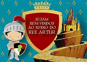 Arte para placa para placa de entrada da festa personalizada Rei Arthur