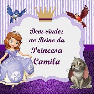 Arte para placa de entrada da festa personalizada Princesa Sofia