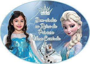 Arte para placa de entrada da festa personalizada com foto Frozen