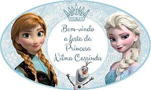 Arte para placa de entrada personalizada da festa Frozen