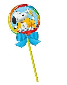 Arte para pirulito personalizado Snoopy e Charlie Brown