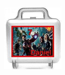 Arte personalizada para maletinha quadrada Vingadores