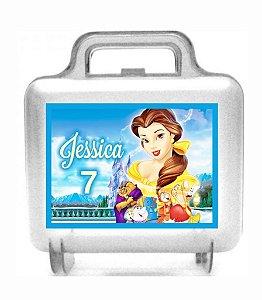 Arte personalizada para maletinha quadrada A Bela e a Fera