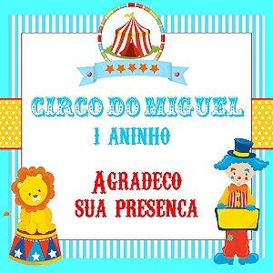 Arte para cartão de agradecimento quadrado Circo