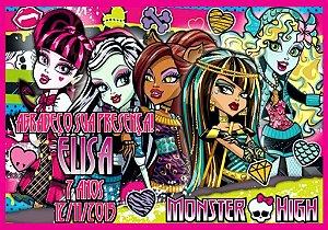 Arte para cartão de agradecimento Monster High menina