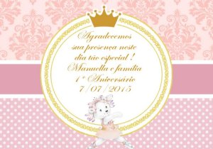 Arte para cartão de agradecimento Ursinha Bailarina