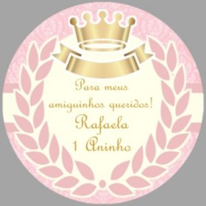 Arte para cartão de agradecimento redondo Princesa