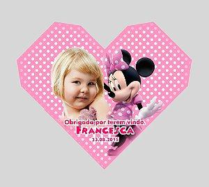 Arte para cartão de agradecimento Minnie em forma de coração com foto