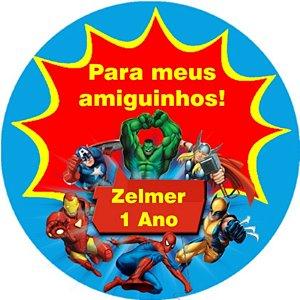 Arte para cartão de agradecimento Super Herois
