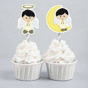 Conjunto 2 toppers recortados para doces comunhão para nenino