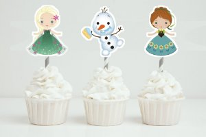 Conjunto 3 toppers recortados para doces Frozen