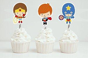 Embalagem com 20 toppers recortados para docinhos Super Herois