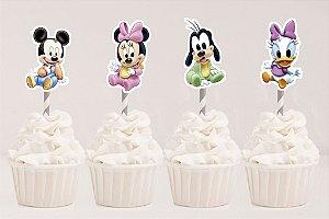 Arte para conjunto 4 toppers recortados para doces Baby Disney