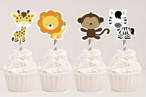 Arte para conjunto 4 toppers recortados para doces Safari