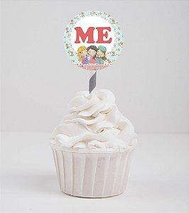 Arte para topper personalizado para doces ou cupcakes Encontro de Amigas