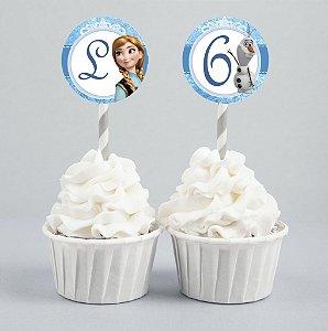 Conjunto 2 toppers personalizados para doces ou cupcakes Frozen