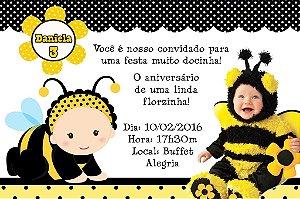 Convite digital personalizado Abelhas com foto 001