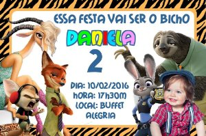Convite digital personalizado Zootopia com foto 004