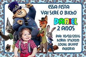 Convite digital personalizado Zootopia com foto 007