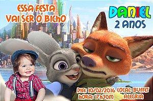 Convite digital personalizado Zootopia com foto 008