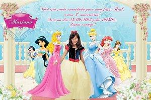Convite digital personalizado Princesas Disney com foto 001