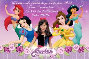 Convite digital personalizado Princesas Disney com foto 003