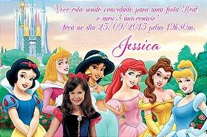 Convite digital personalizado Princesas Disney com foto 005