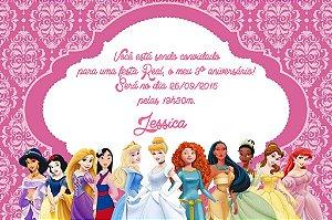 Convite digital personalizado Princesas Disney 007