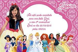 Convite digital personalizado Princesas Disney com foto 007