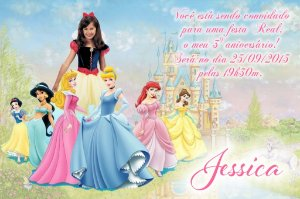 Convite digital personalizado Princesas Disney com foto 008