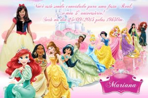 Convite digital personalizado Princesas Disney com foto 009