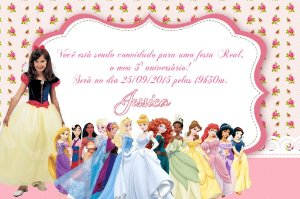 Convite digital personalizado Princesas Disney com foto 010