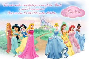Convite digital personalizado Princesas Disney 011