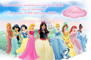 Convite digital personalizado Princesas Disney com foto 011