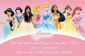 Convite digital personalizado Princesas Disney com foto 012