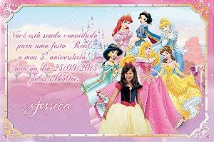 Convite digital personalizado Princesas Disney com foto 017