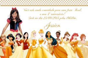 Convite digital personalizado Princesas Disney com foto 019
